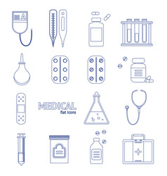 Medical healthcare equipment thin line icon set vector