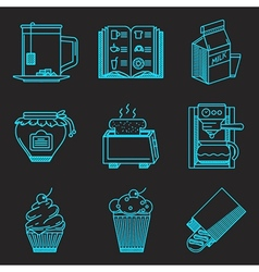 Menu for breakfast line icons vector image
