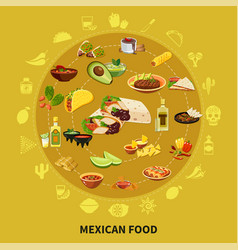 mexican food round composition vector image