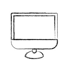 monochrome blurred silhouette of lcd monitor vector image