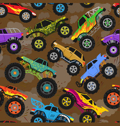 monster truck show cartoon vehicle or car vector image