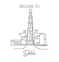 one continuous line drawing qutub minar mosque vector image
