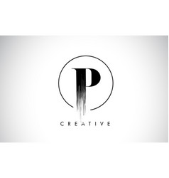 p brush stroke letter logo design black paint vector image