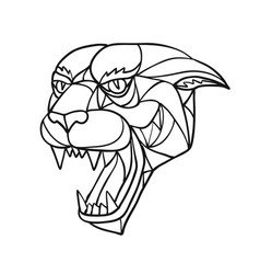 Panther angry head mosaic black and white vector