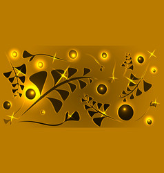 pattern of black gold floral elements on a yellow vector image