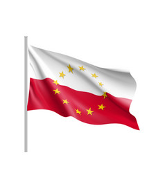 poland national flag with a star circle of eu vector image