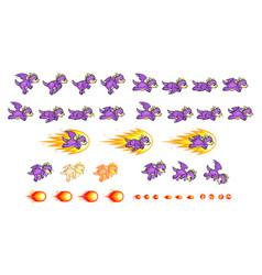 Purple dragon game sprites vector