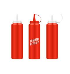 realistic detailed 3d ketchup bottle set vector image