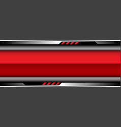 Red glossy banner silver black cyber circuit vector