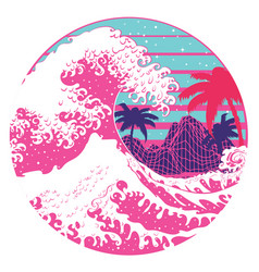Retro great waves design with palms vector