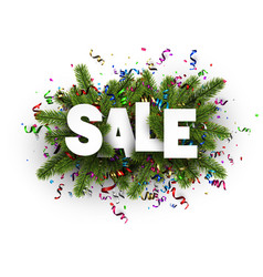 Sale sign with spruce branches vector