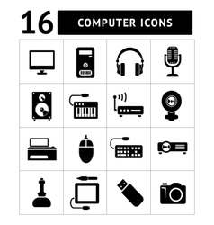 set icons pc and electronic devices vector image