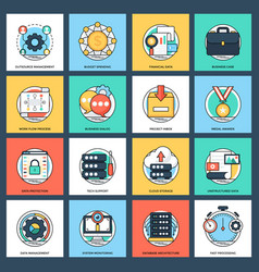 Set of business and data management flat i vector