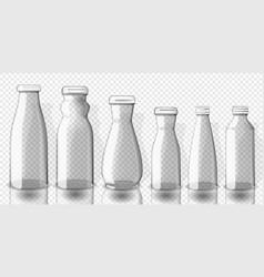 set of empty juice bottles mockup on transparent vector image