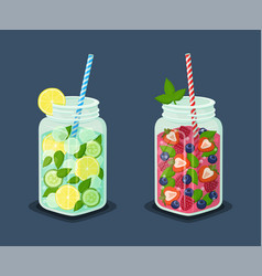 Set of mugs refreshing drinks with fresh cocktails vector