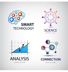 set of science analysis chemistry atom vector image