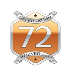 Seventy two years anniversary celebration silver vector image