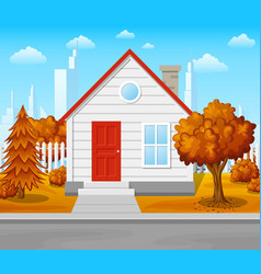 Suburban house with autumn tree city background vector