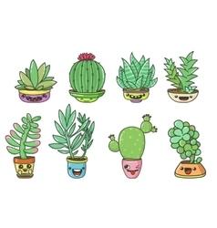 succulents set vector image