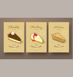 Sweet collection cheese cakes and apple pie vector