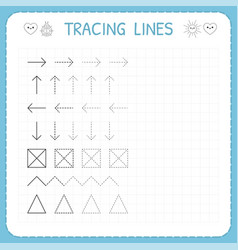 Tracing lines working pages for children vector