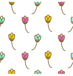 tulip flowers pink floral art pattern seamless vector image