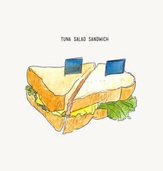 tuna salad sandwich sketch vector image