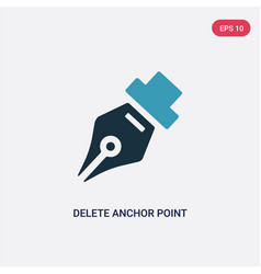 Two color delete anchor point icon from user vector