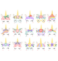 unicorn face beautiful pony unicorns faces magic vector image