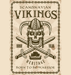viking skull in horned helmet retro poster vector image