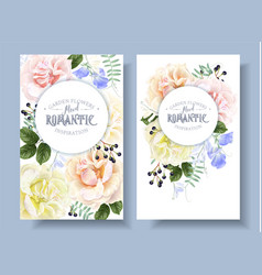 Vintage floral banners with garden roses vector