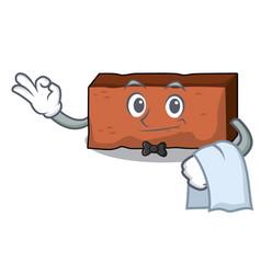 Waiter brick mascot cartoon style vector