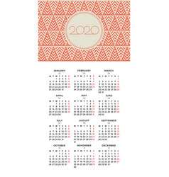 wall calendar 2020 design with winter pattern vector image