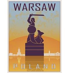 Warsaw vintage poster vector image