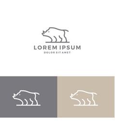 warthog boar logo icon line art outline download vector image