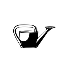 Watering can monochrome silhouette - black and vector