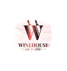 wine bottles logo letter w logo watercolor vector image