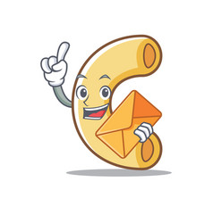 With envelope macaroni character cartoon style vector