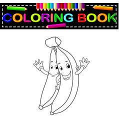 bananas with face coloring book vector image