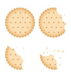Bitten chip biscuit cookie cracker set vector
