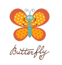 Cute colorful butterfly character vector image