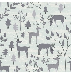 Seamless pattern with deer in winter forest vector image
