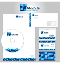 Stationery template with blue geometric vector image vector image