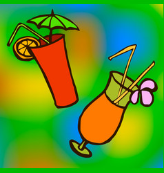 tropical cocktail in glass with ice and umbrella vector image