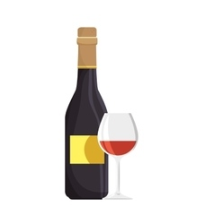 wine bottle and glass cup vector image
