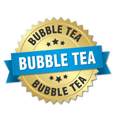 Bubble tea round isolated gold badge vector