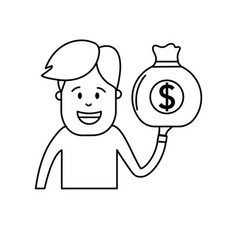 line man with bag cash money in the hand vector image