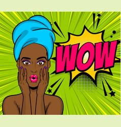 pop art black girl wow face towel head vector image vector image