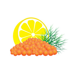 red caviar with lemon and dill vector image vector image