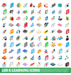 100 e-learning icons set isometric 3d style vector image vector image